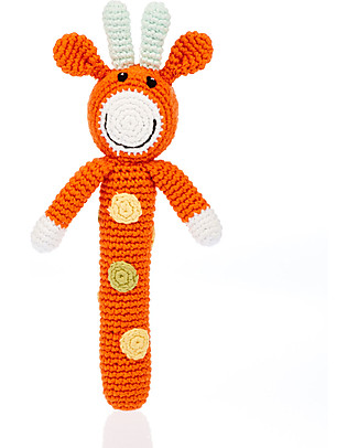 Pebble Giraffe Stick Rattle - Organic Cotton, Fair Trade Rattles