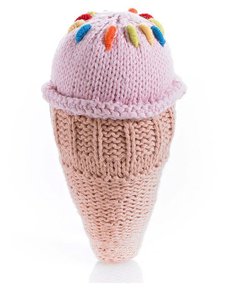 Pebble Ice Cream Cone Rattles - Strawberry Rattles