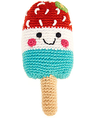 Pebble Ice Lolly Rattle Black Cherry Milk Mint 16 cm - Pure organic cotton Rattles