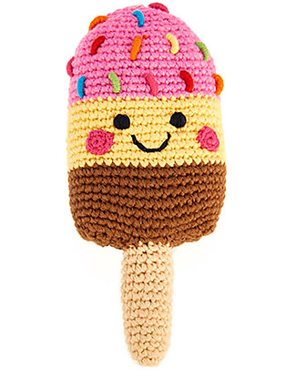 Pebble Ice Lolly Rattle, Strawberry Cream Chocolate 16 cm - Pure organic cotton Rattles