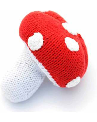 Pebble Individual Vegetable Rattles - Red Toadstool - Fair Trade Rattles