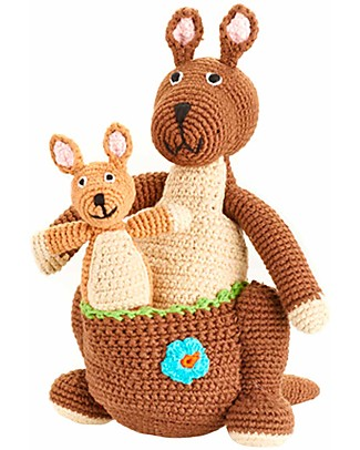 Pebble Kangaroo with kid - Fair Trade Crochet Soft Toys