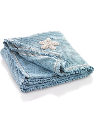 Pebble Knitted Blanket Blue with Stars - Organic Cotton - 85 x 95 cm Blankets