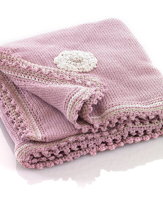 Pebble Knitted Blanket Pink with Flowers - Organic Cotton - 85 x 95 cm Blankets