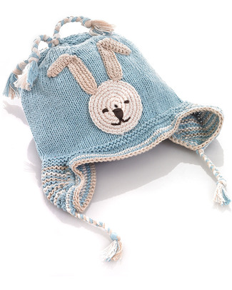 Pebble Knitted Bunny Hat Blue with Earflaps - Organic & FairTrade Hats