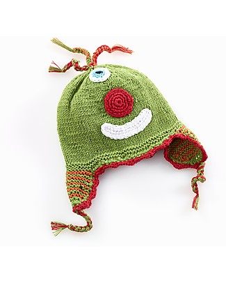 Pebble Knitted Cheeky Monster Hat with Earflap - Green Hats