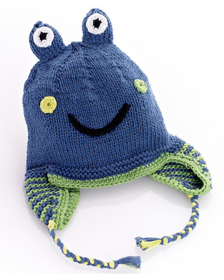 Pebble Knitted Frog Hat with Earflaps - Blue - Fair Trade Hats
