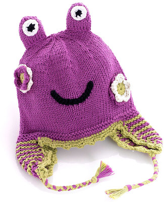 Pebble Knitted Frog Hat with Earflaps - Pink/Purple Hats
