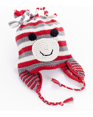 Pebble Knitted Monkey Hat with Earflips - Fair Trade Hats