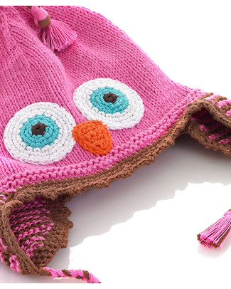Pebble Knitted Owl Hat with Ear Flap - Pink - Fair Trade Hats