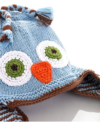 Pebble Knitted Owl Hat with Earflaps - Blue - Fair Trade Hats