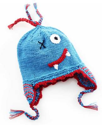 Pebble Knitted Scary Monster Hat with Earflap - Blue null
