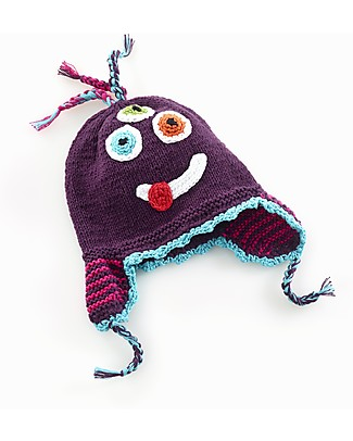 Pebble Knitted Silly Monster Hat with Earflap - Purple Hats
