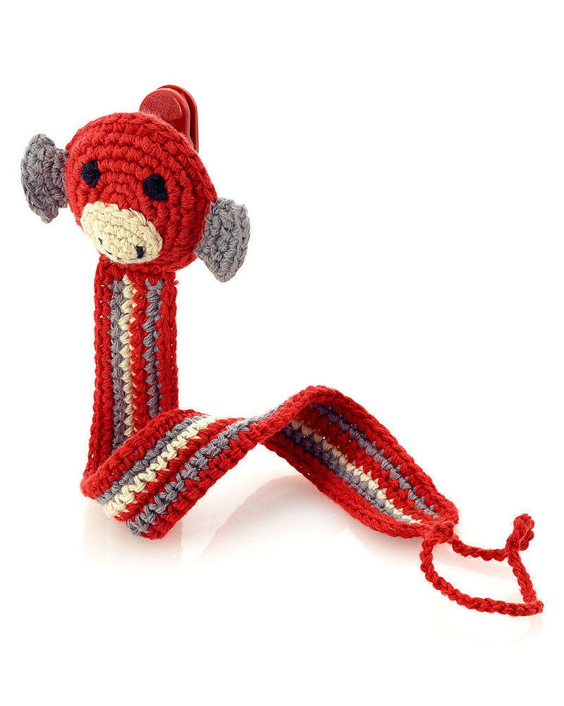 Pebble Monkey Red Crocheted Pacifier Clip Fair Trade Unisex Bambini