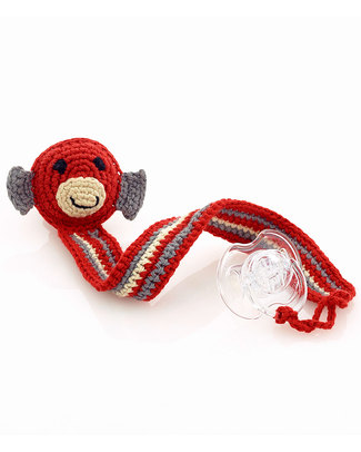 Pebble Monkey Red Crocheted Pacifier Clip - Fair Trade Dummies & Soothers