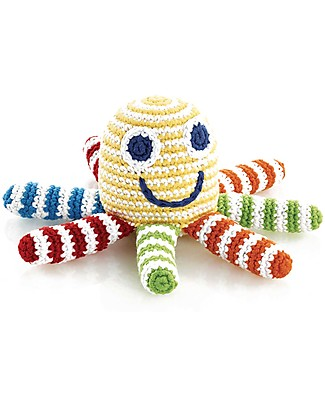 Pebble Multicolour Octopus Rattle Toy - approx 15 cm - Fair Trade Crochet Soft Toys
