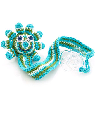 Pebble Octopus Green Crocheted Pacifier Clip - Fair Trade Dummies & Soothers