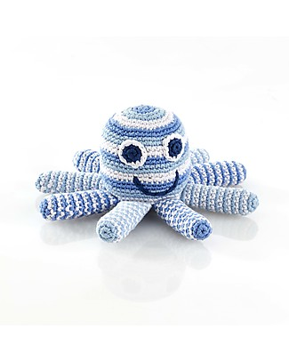 Pebble Octopus Rattle - Pale Blue - Fair Trade Rattles
