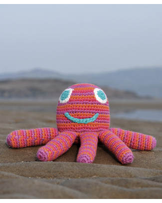 Pebble Octopus Rattle Toy - Pink  (15 cm) - Fair Trade Rattles