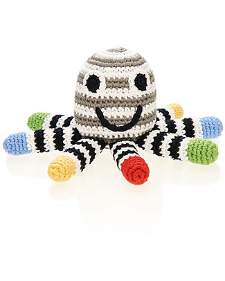Pebble Octopus Rattles - Black and White - Fair Trade	 Rattles