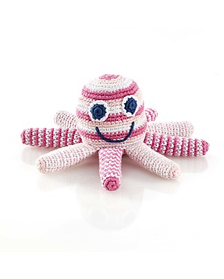 Pebble Octopus Rattles - Pale Pink - Fair Trade Rattles