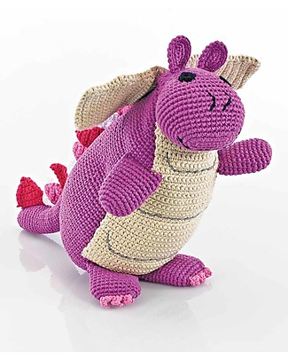 Pebble Once Upon a Time - Dragon Mulberry - 36 cm tall - Fair Trade Crochet Soft Toys