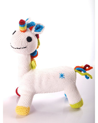 Pebble Once Upon a Time Rainbow Unicorn Toy - Fairtrade - 28 cm Soft Toys