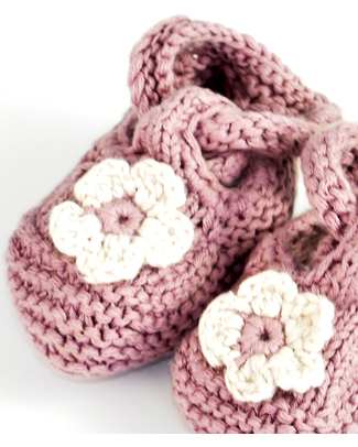 Pebble Organic Baby Bootie Dusky - Pink Slippers