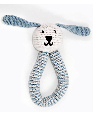 Pebble Organic Bunny Rattle - Duck Egg Blue - Organic Cotton Rattles
