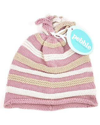 Pebble Organic Pink Striped Hat - Fair Trade Hats