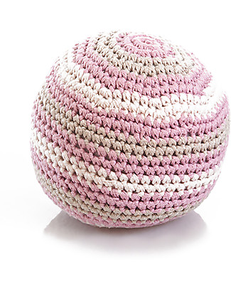 Pebble Organic Stripy Crochet Rattle Ball - 100% Organic Cotton - Pink Rattles