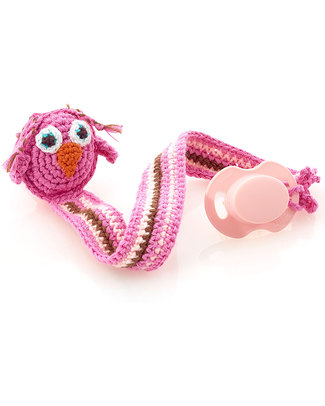 Pebble Owl Pink Crocheted Pacifier Clip - Fair Trade Dummies & Soothers