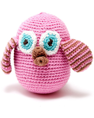 Pebble Owl Rattle - Pink - Fair Trade Rattles