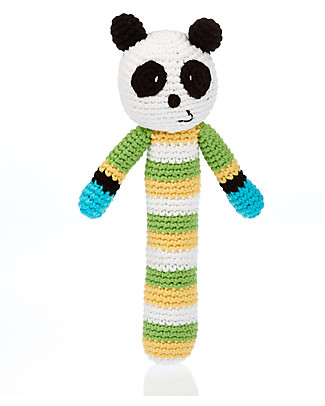 Pebble Panda Stick Rattle - Organic Cotton, Fair Trade Rattles