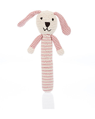 Pebble Pink Bunny Stick Rattle - Fair Trade, Organic Cotton Teethers