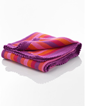 Pebble Pink/Fuschia Striped Blanket - Fair Trade - 85 x 95 cm Blankets