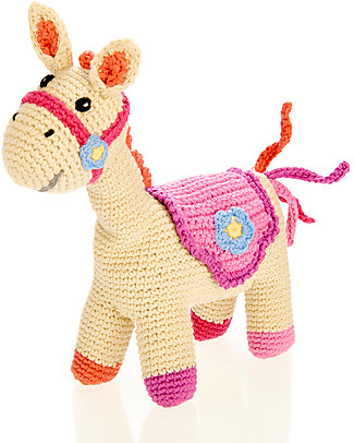 Pebble Pink Horse Rattle - 22 cm long, 100% Organic Cotton Rattles