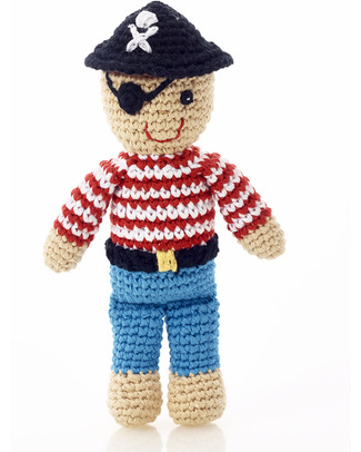 Pebble Pirate Crocheted Toy Rattle - Fairtrade - Approx 18 cm tall Rattles