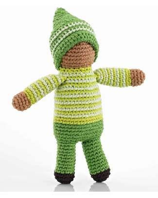 Pebble Pixie Doll Rattles - Green - Fair Trade null