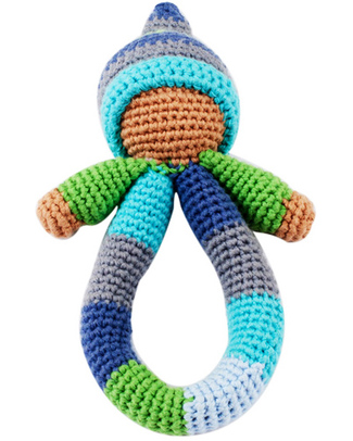 Pebble Pixie Ring Rattle - Blue - Fair Trade Rattles