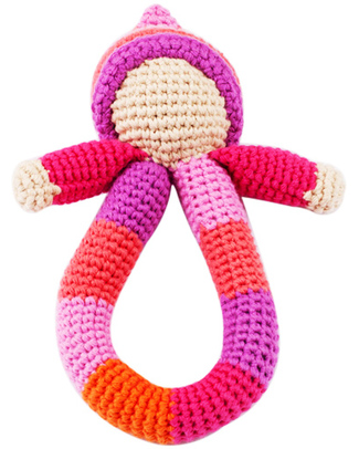 Pebble Pixie Ring Rattle - Pink - Fair Trade Rattles