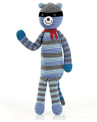 Pebble Raccoon Crochet Rattle - 30 cm - Fair Trade Crochet Soft Toys