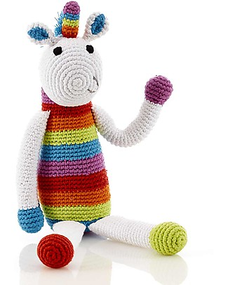 Pebble Rainbow Unicorn Rattle - 30 cm tall, 100% organic cotton Rattles