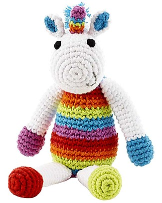 Pebble Rainbow Unicorn Rattle - White - Fair Trade - 18 cm Rattles