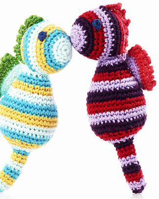 Pebble Seahorse Rattle - Red - Fair Trade Rattles