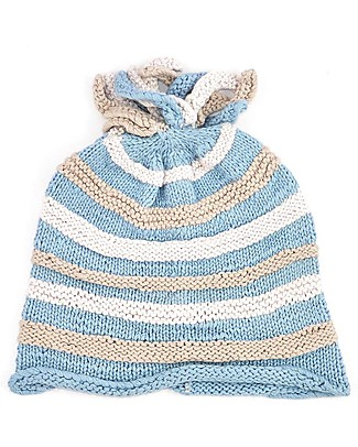 Pebble Striped Blue Hat - Organic & FairTrade Hats