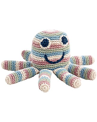 Pebble Stripey Octopus Rattle Toy - 100% Organic Coton - Approx 15 cm - Fair Trade Crochet Soft Toys