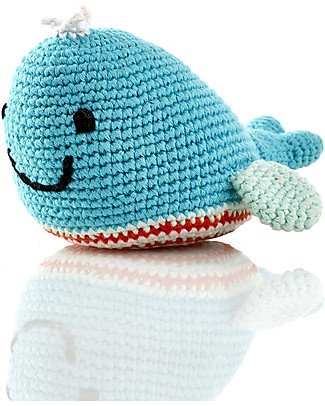 Pebble Whale Rattle - Deep Turquoise - Fair Trade Rattles
