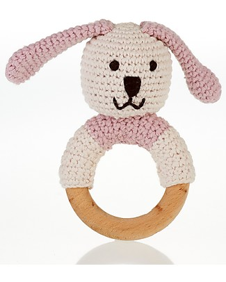 Pebble Wooden Ring Rattle - Pink Bunny - Fair Trade, Organic Cotton Rattles