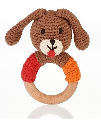 Pebble Wooden Teether Rattle - Dog Boy - Fair Trade Teethers